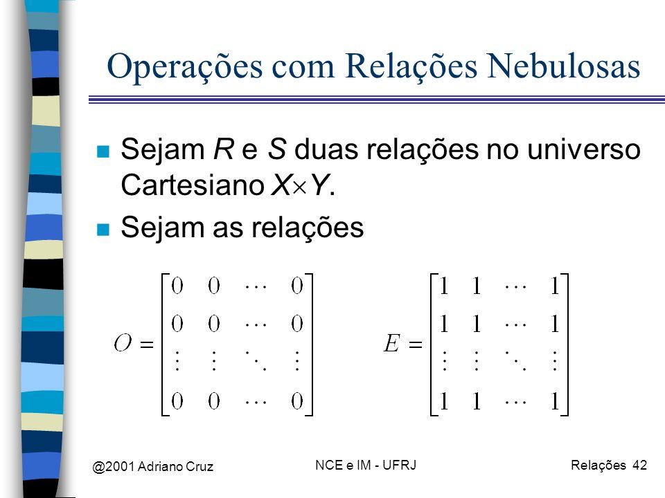 @2001 Adriano Cruz NCE e IM - UFRJRelações 42 Operações com Relações Nebulosas n Sejam R e S duas relações no universo Cartesiano X Y. n Sejam as rela