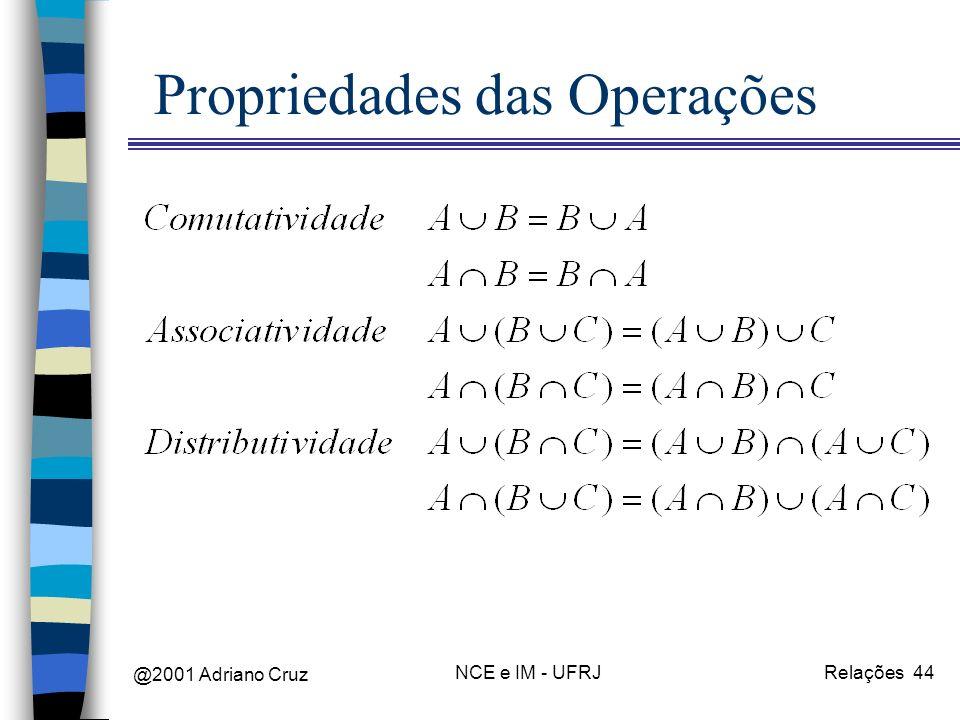 @2001 Adriano Cruz NCE e IM - UFRJRelações 44 Propriedades das Operações
