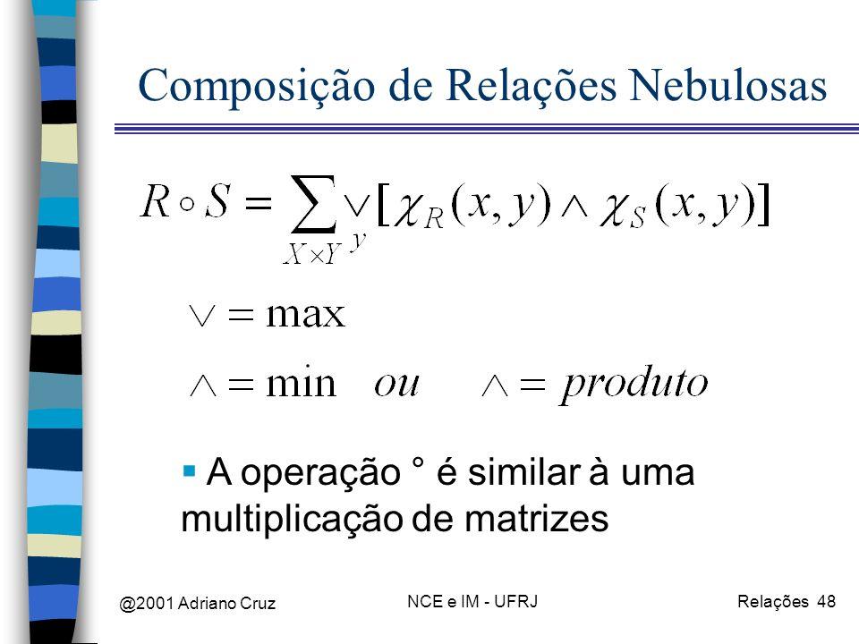 @2001 Adriano Cruz NCE e IM - UFRJRelações 48 Composição de Relações Nebulosas A operação ° é similar à uma multiplicação de matrizes