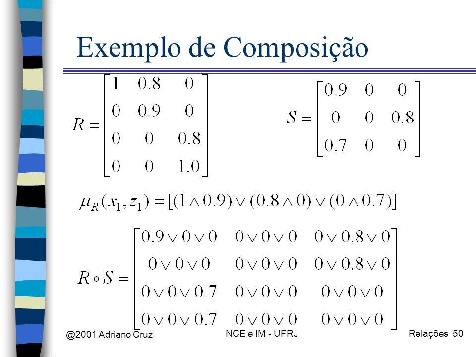 @2001 Adriano Cruz NCE e IM - UFRJRelações 50 Exemplo de Composição