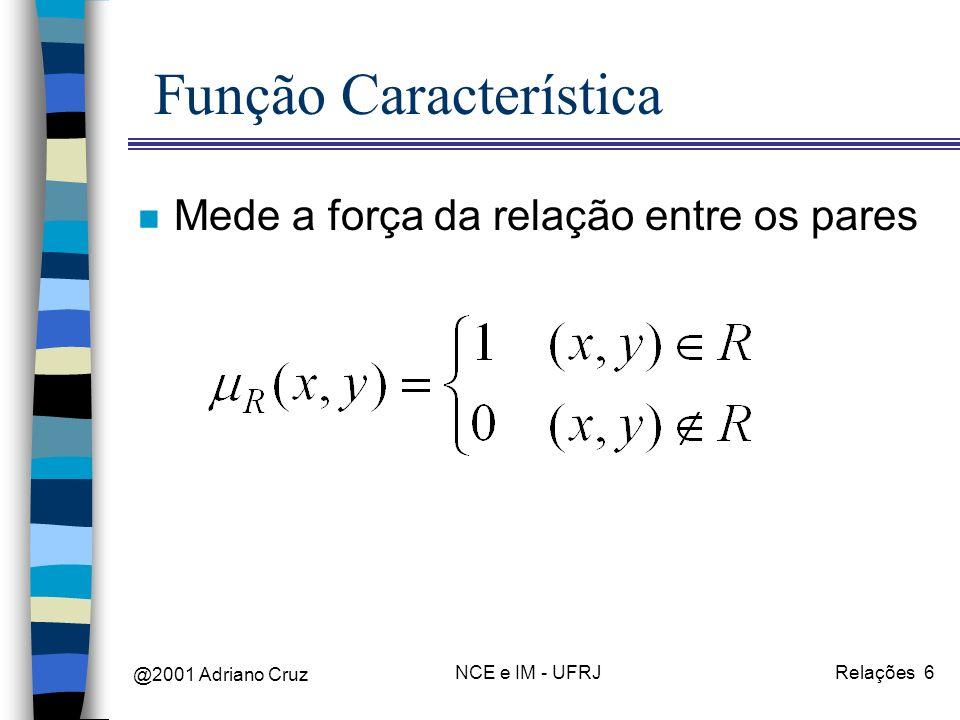 @2001 Adriano Cruz NCE e IM - UFRJRelações 6 Função Característica n Mede a força da relação entre os pares