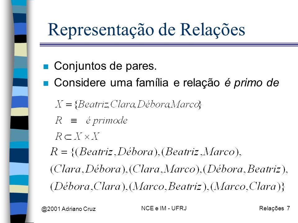 @2001 Adriano Cruz NCE e IM - UFRJRelações 7 Representação de Relações n Conjuntos de pares. n Considere uma família e relação é primo de