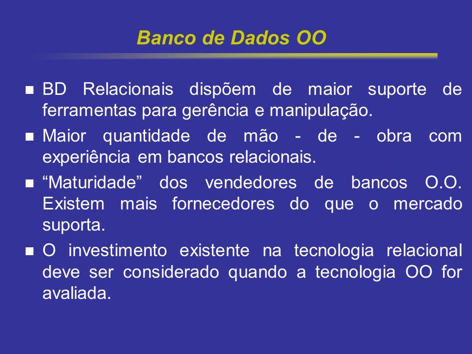 10 Banco de Dados OO BD Relacionais dispõem de maior suporte de ferramentas para gerência e manipulação. Maior quantidade de mão - de - obra com exper