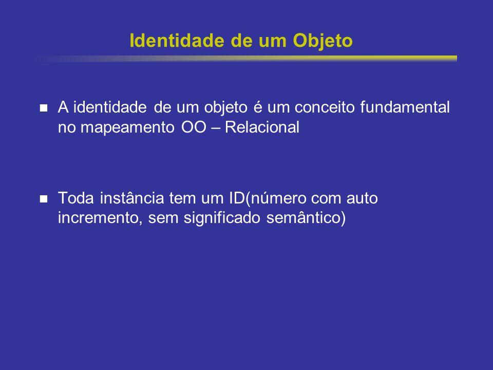 13 Identidade de um Objeto A identidade de um objeto é um conceito fundamental no mapeamento OO – Relacional Toda instância tem um ID(número com auto