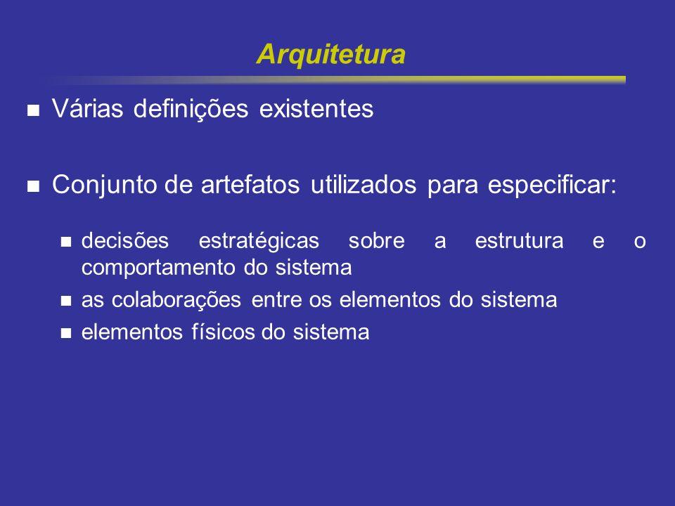 2 Arquitetura Várias definições existentes Conjunto de artefatos utilizados para especificar: decisões estratégicas sobre a estrutura e o comportament