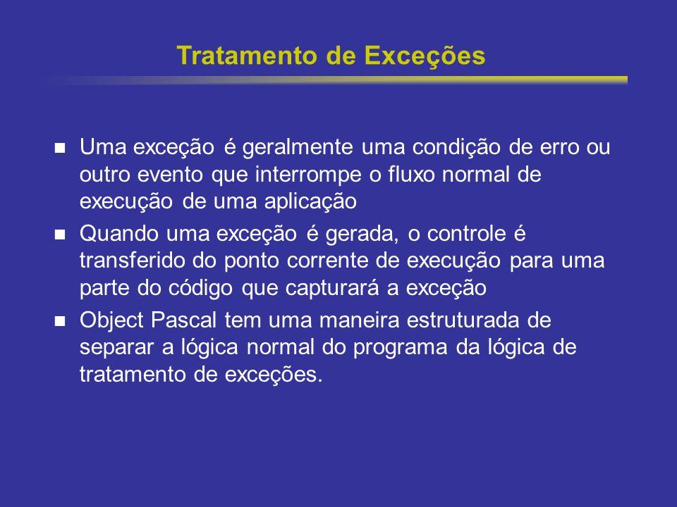 27 Tratamento de Exceções Uma exceção é geralmente uma condição de erro ou outro evento que interrompe o fluxo normal de execução de uma aplicação Qua