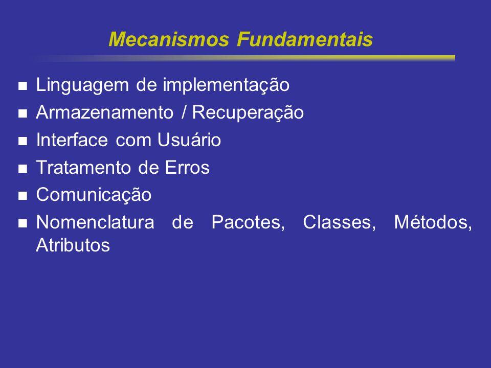 4 Mecanismos Fundamentais Linguagem de implementação Armazenamento / Recuperação Interface com Usuário Tratamento de Erros Comunicação Nomenclatura de