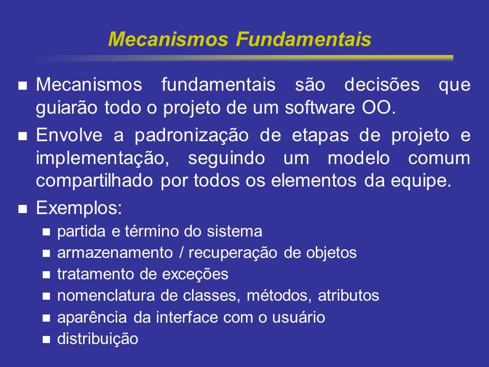 5 Mecanismos Fundamentais Mecanismos fundamentais são decisões que guiarão todo o projeto de um software OO. Envolve a padronização de etapas de proje