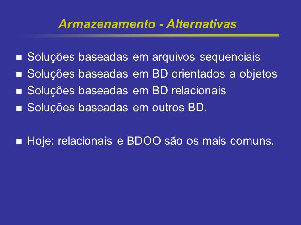 8 Armazenamento - Alternativas Soluções baseadas em arquivos sequenciais Soluções baseadas em BD orientados a objetos Soluções baseadas em BD relacion