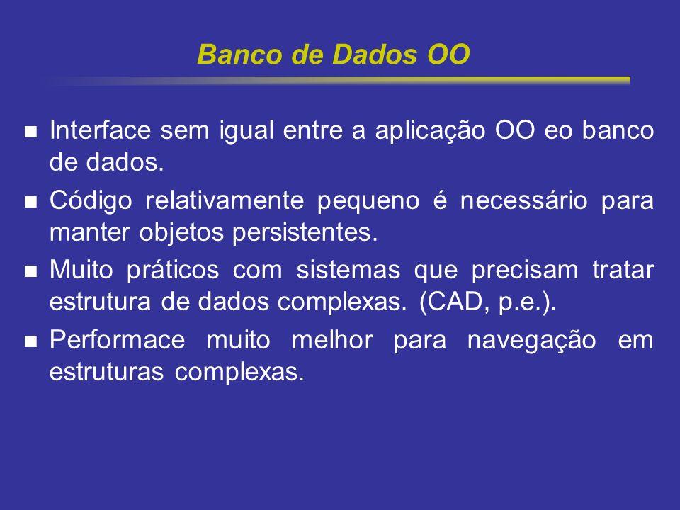 9 Banco de Dados OO Interface sem igual entre a aplicação OO eo banco de dados. Código relativamente pequeno é necessário para manter objetos persiste