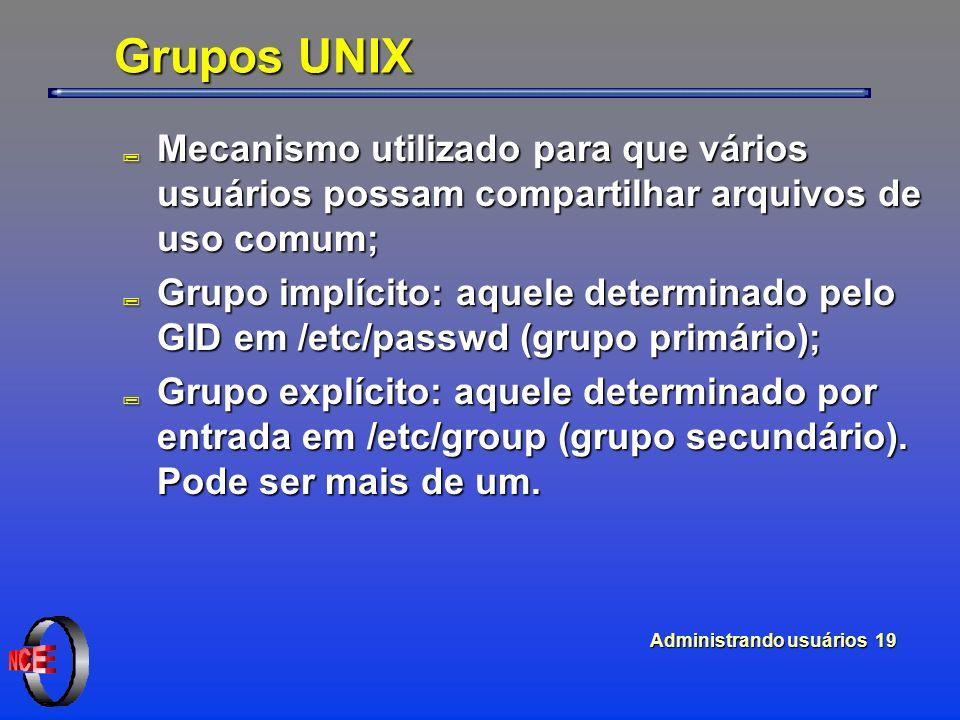 Administrando usuários 19 Grupos UNIX ; Mecanismo utilizado para que vários usuários possam compartilhar arquivos de uso comum; ; Grupo implícito: aquele determinado pelo GID em /etc/passwd (grupo primário); ; Grupo explícito: aquele determinado por entrada em /etc/group (grupo secundário).