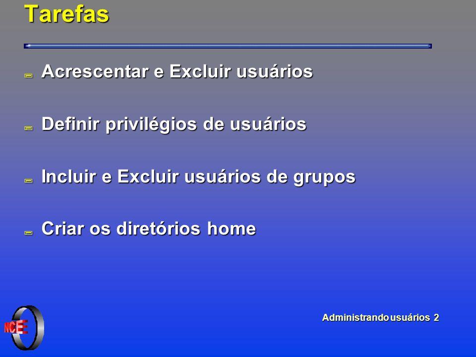 Administrando usuários 2 Tarefas ; Acrescentar e Excluir usuários ; Definir privilégios de usuários ; Incluir e Excluir usuários de grupos ; Criar os diretórios home