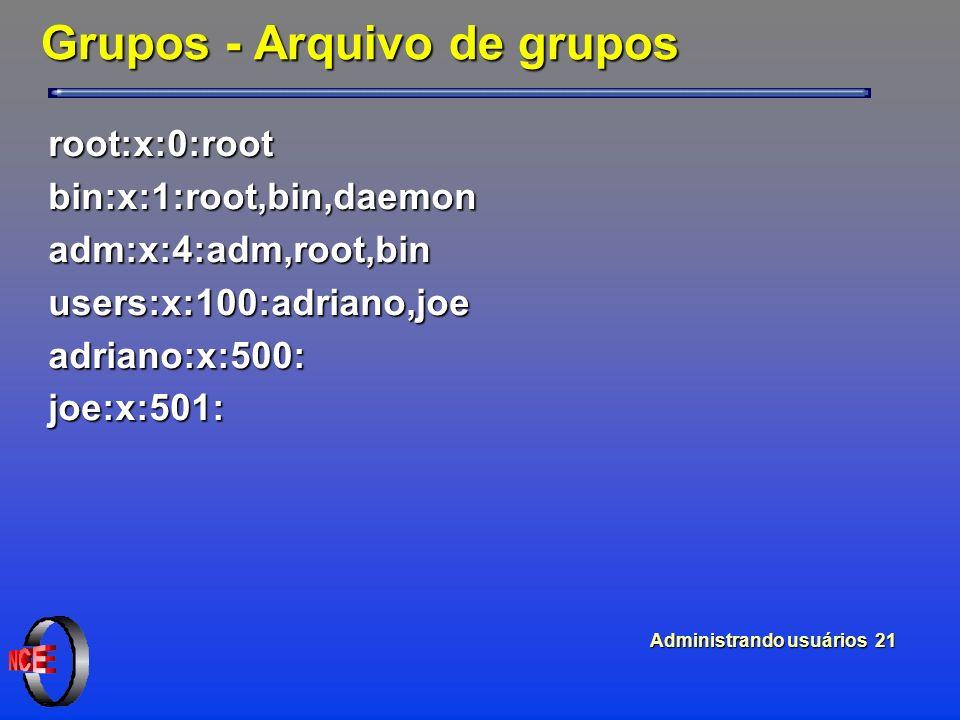 Administrando usuários 21 Grupos - Arquivo de grupos root:x:0:rootbin:x:1:root,bin,daemonadm:x:4:adm,root,binusers:x:100:adriano,joeadriano:x:500:joe:x:501: