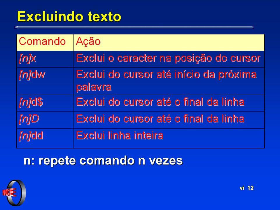 vi 12 Excluindo texto n: repete comando n vezes