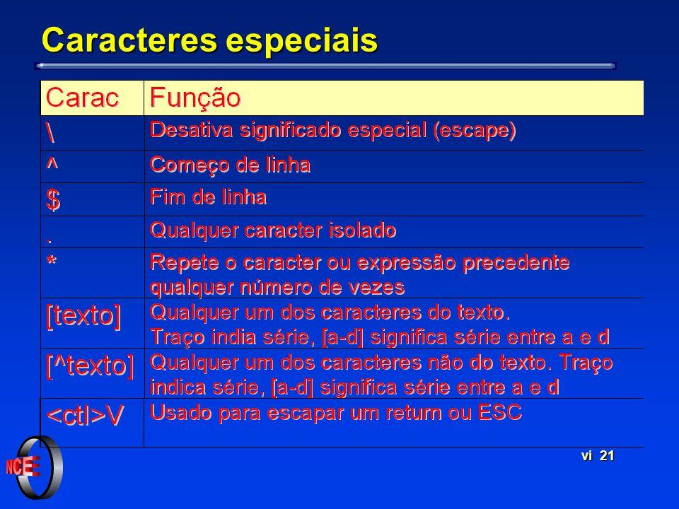 vi 21 Caracteres especiais