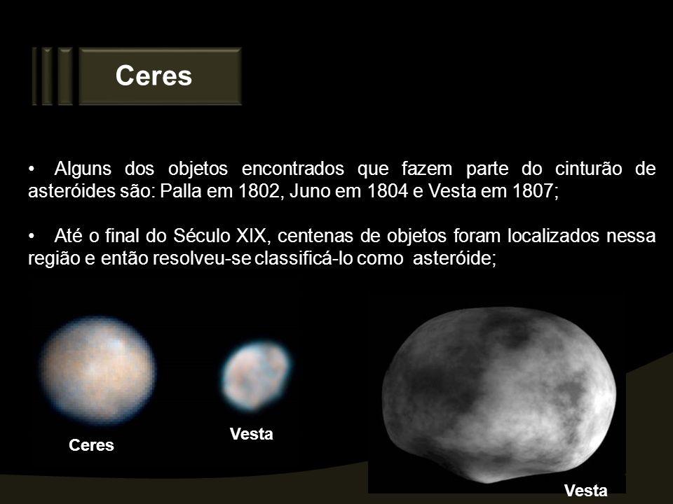 Ceres Alguns dos objetos encontrados que fazem parte do cinturão de asteróides são: Palla em 1802, Juno em 1804 e Vesta em 1807; Até o final do Século