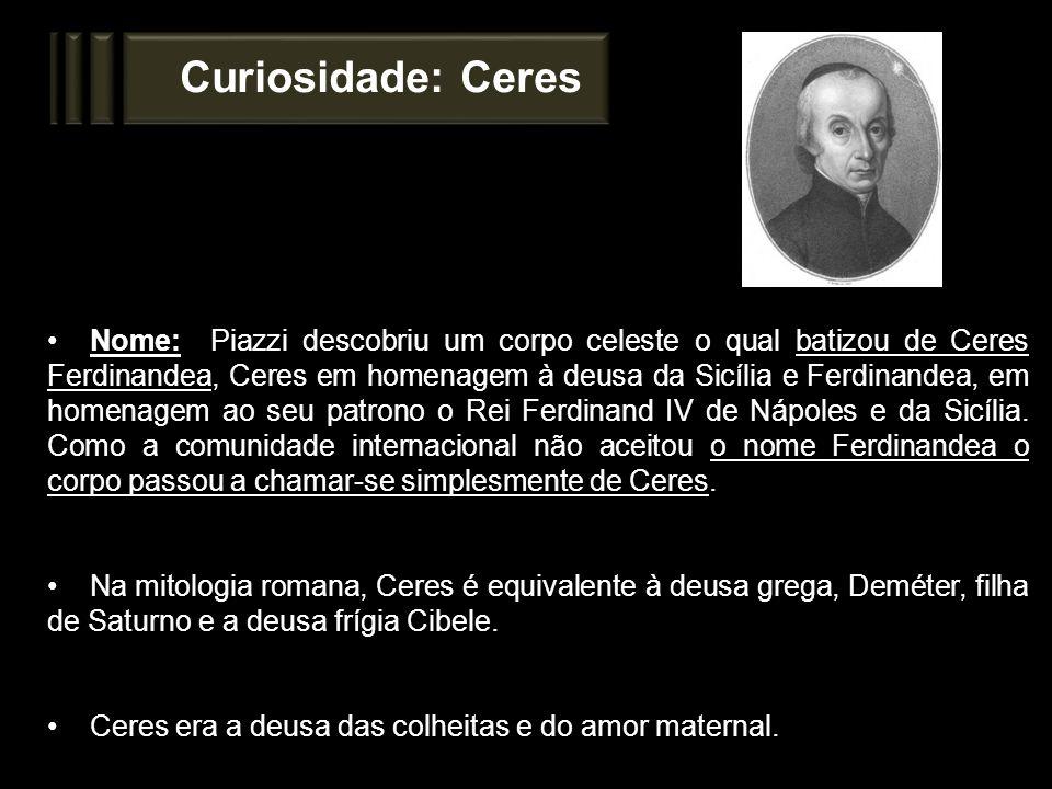 Curiosidade: Ceres Nome: Piazzi descobriu um corpo celeste o qual batizou de Ceres Ferdinandea, Ceres em homenagem à deusa da Sicília e Ferdinandea, e