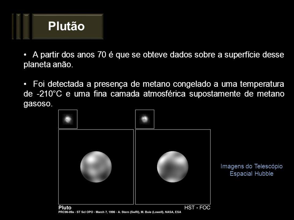 Plutão A partir dos anos 70 é que se obteve dados sobre a superfície desse planeta anão. Foi detectada a presença de metano congelado a uma temperatur