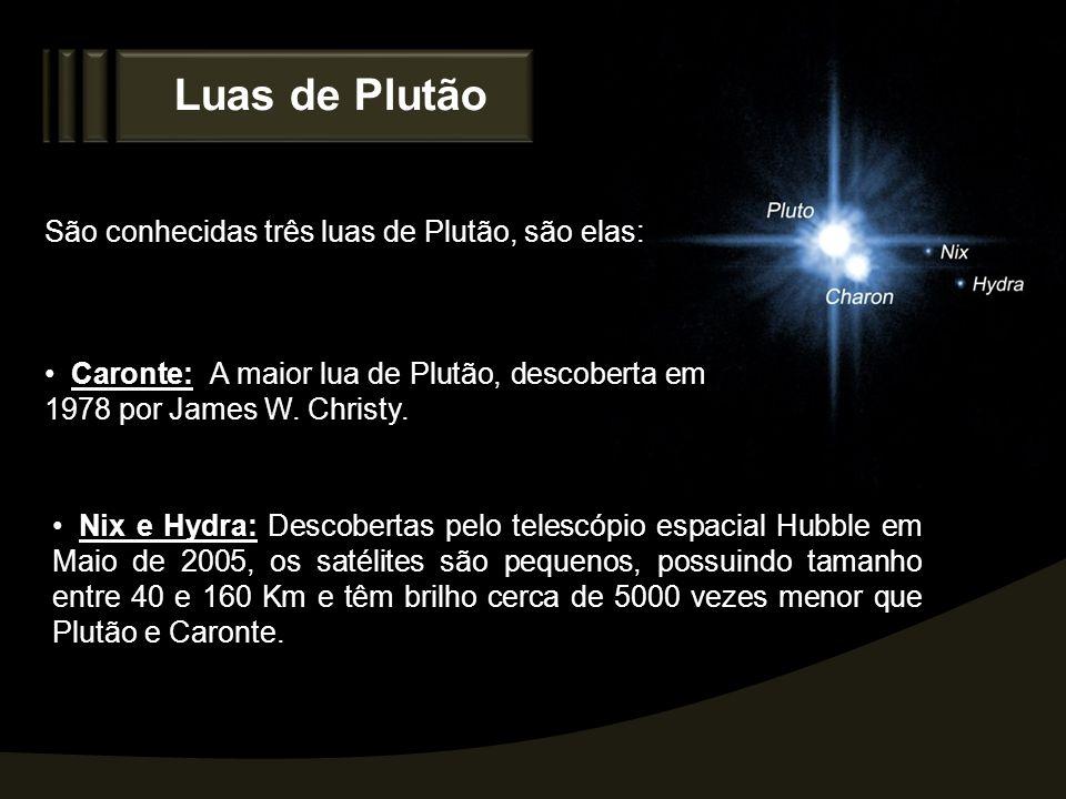 Luas de Plutão São conhecidas três luas de Plutão, são elas: Caronte: A maior lua de Plutão, descoberta em 1978 por James W. Christy. Nix e Hydra: Des