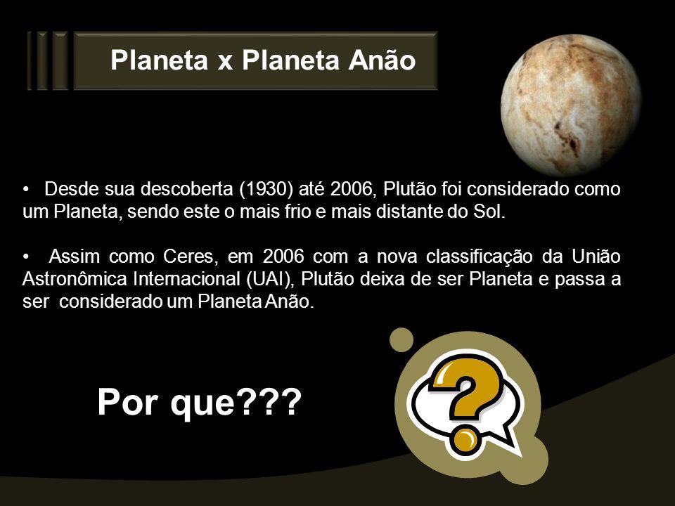 Planeta x Planeta Anão Desde sua descoberta (1930) até 2006, Plutão foi considerado como um Planeta, sendo este o mais frio e mais distante do Sol. As