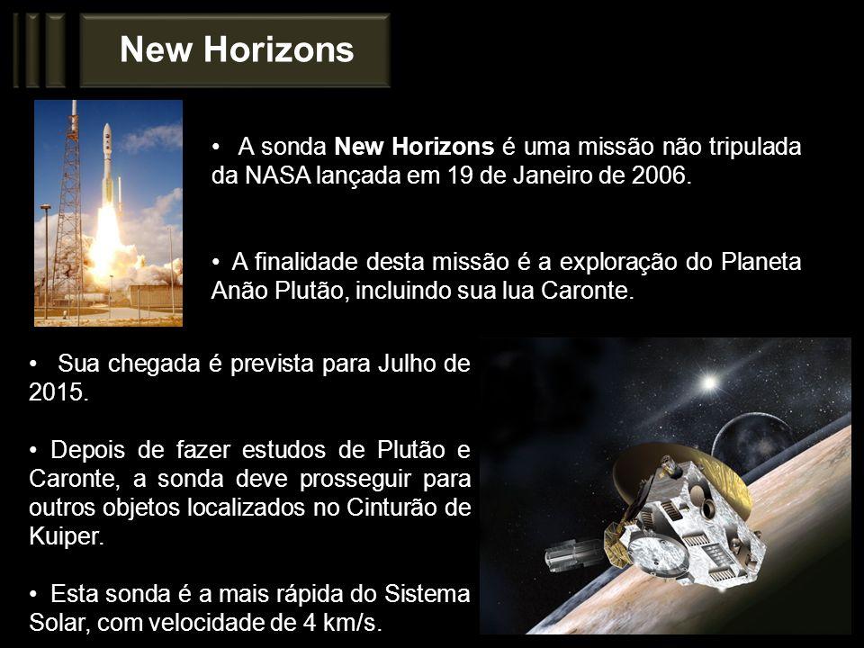 New Horizons A sonda New Horizons é uma missão não tripulada da NASA lançada em 19 de Janeiro de 2006. A finalidade desta missão é a exploração do Pla