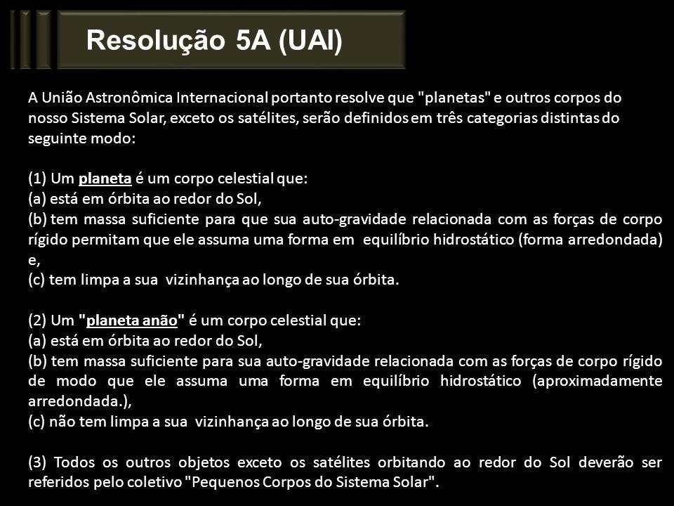 Resolução 5A (UAI) A União Astronômica Internacional portanto resolve que