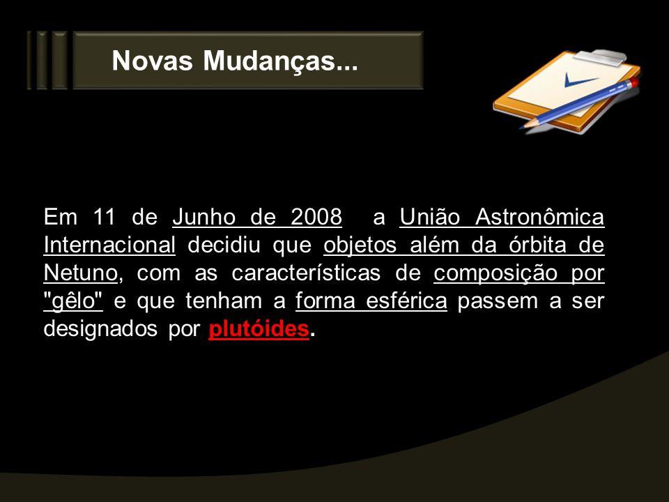 Novas Mudanças... Em 11 de Junho de 2008 a União Astronômica Internacional decidiu que objetos além da órbita de Netuno, com as características de com