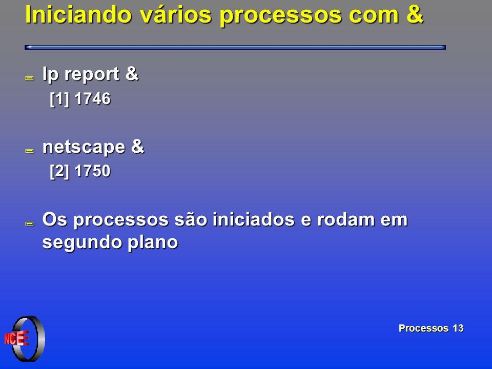 Processos 13 Iniciando vários processos com & ; lp report & [1] 1746 ; netscape & [2] 1750 ; Os processos são iniciados e rodam em segundo plano