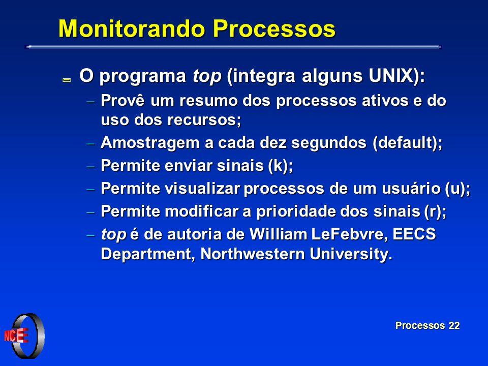 Processos 22 Monitorando Processos ; O programa top (integra alguns UNIX): Provê um resumo dos processos ativos e do uso dos recursos; Provê um resumo