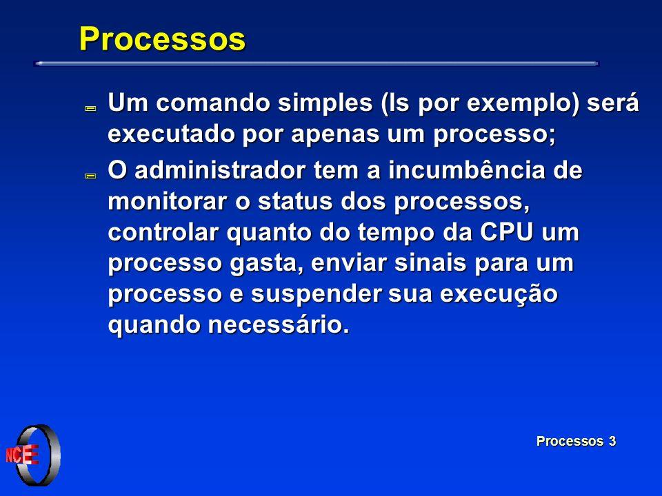 Processos 3 Processos ; Um comando simples (ls por exemplo) será executado por apenas um processo; ; O administrador tem a incumbência de monitorar o