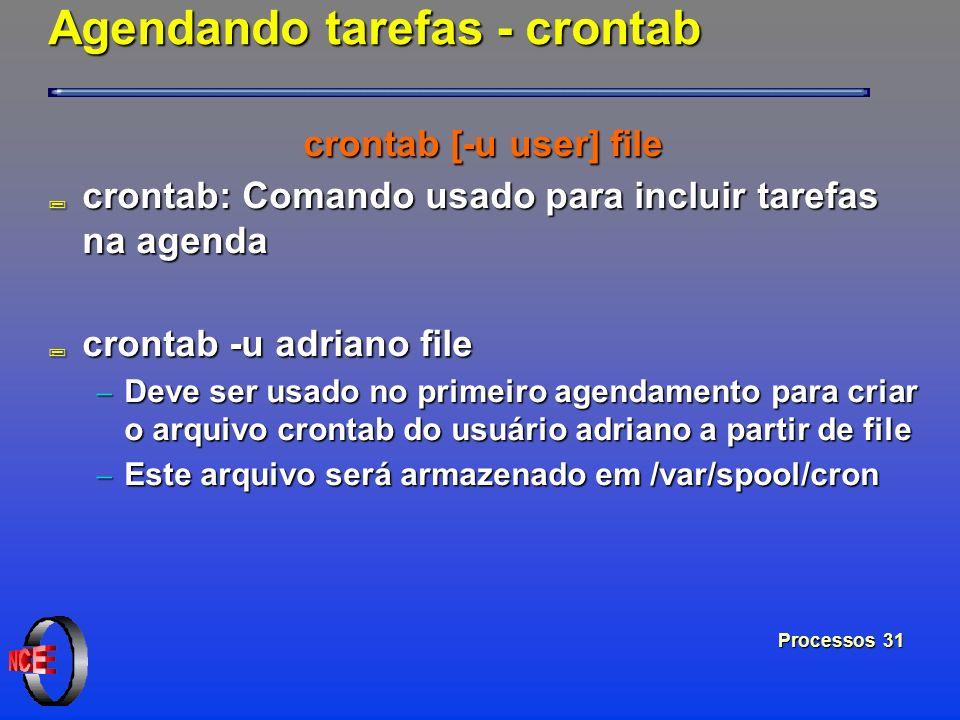 Processos 31 Agendando tarefas - crontab crontab [-u user] file ; crontab: Comando usado para incluir tarefas na agenda ; crontab -u adriano file Deve