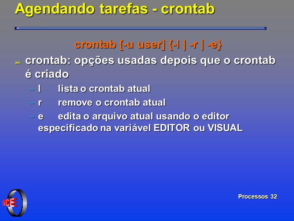 Processos 32 Agendando tarefas - crontab crontab [-u user] {-l | -r | -e} ; crontab: opções usadas depois que o crontab é criado l lista o crontab atu
