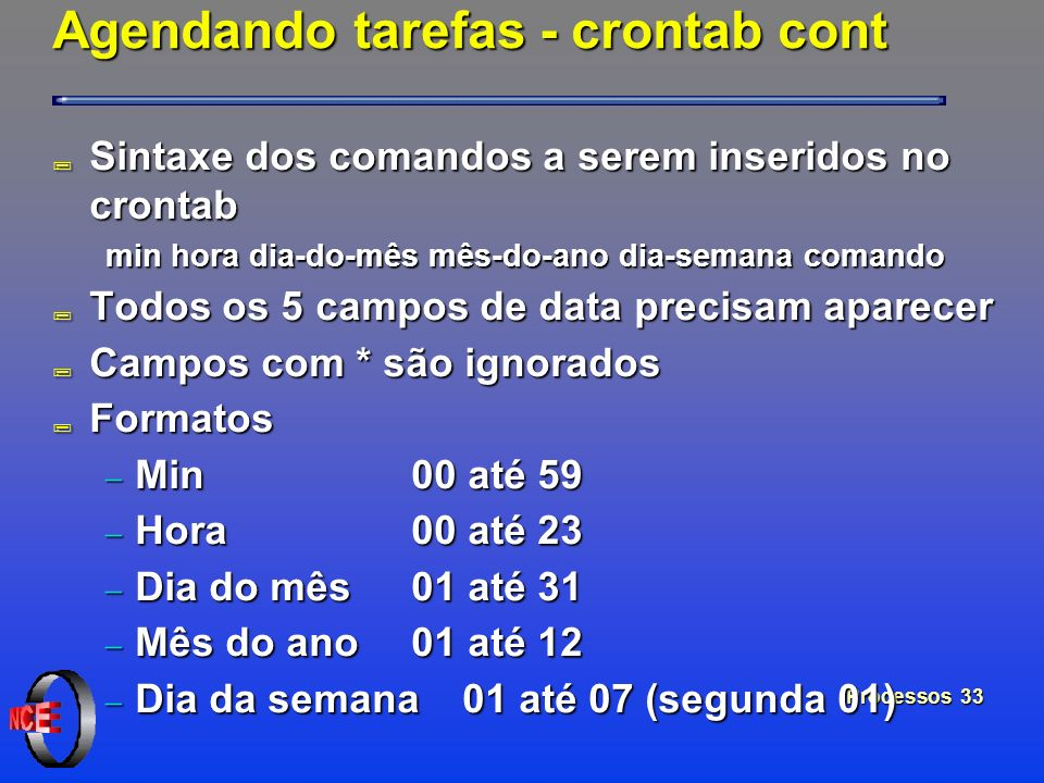 Processos 33 Agendando tarefas - crontab cont ; Sintaxe dos comandos a serem inseridos no crontab min hora dia-do-mês mês-do-ano dia-semana comando ;