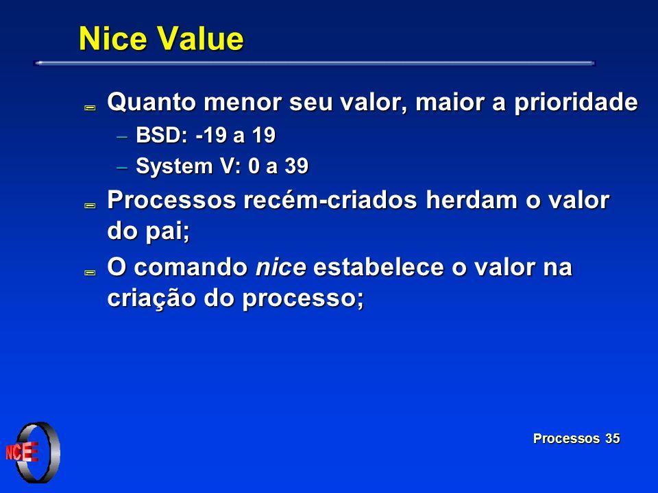 Processos 35 Nice Value ; Quanto menor seu valor, maior a prioridade BSD: -19 a 19 BSD: -19 a 19 System V: 0 a 39 System V: 0 a 39 ; Processos recém-c