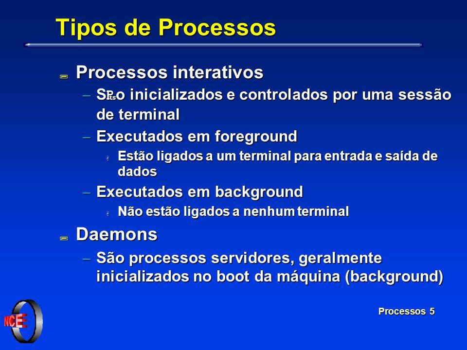 Processos 5 Tipos de Processos ; Processos interativos S o inicializados e controlados por uma sessão de terminal S o inicializados e controlados por