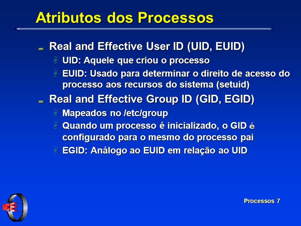 Processos 7 Atributos dos Processos ; Real and Effective User ID (UID, EUID) A UID: Aquele que criou o processo A EUID: Usado para determinar o direit