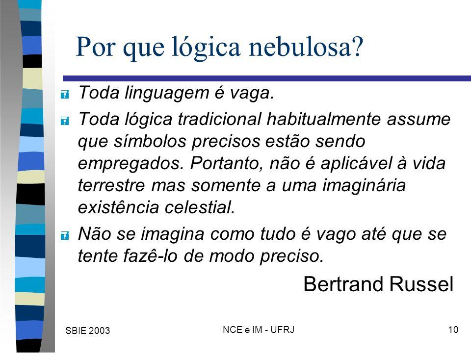 SBIE 2003 NCE e IM - UFRJ 10 Por que lógica nebulosa? = Toda linguagem é vaga. = Toda lógica tradicional habitualmente assume que símbolos precisos es