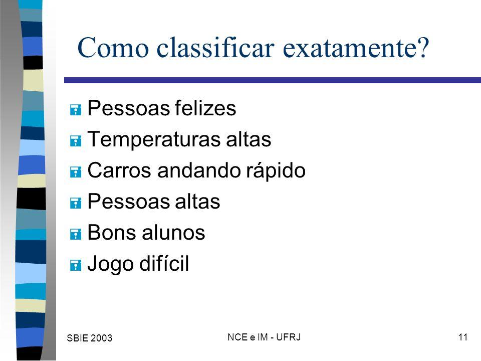 SBIE 2003 NCE e IM - UFRJ 11 Como classificar exatamente? = Pessoas felizes = Temperaturas altas = Carros andando rápido = Pessoas altas = Bons alunos