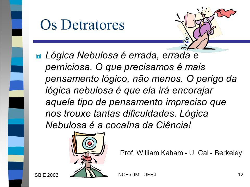 SBIE 2003 NCE e IM - UFRJ 12 Os Detratores = Lógica Nebulosa é errada, errada e perniciosa. O que precisamos é mais pensamento lógico, não menos. O pe
