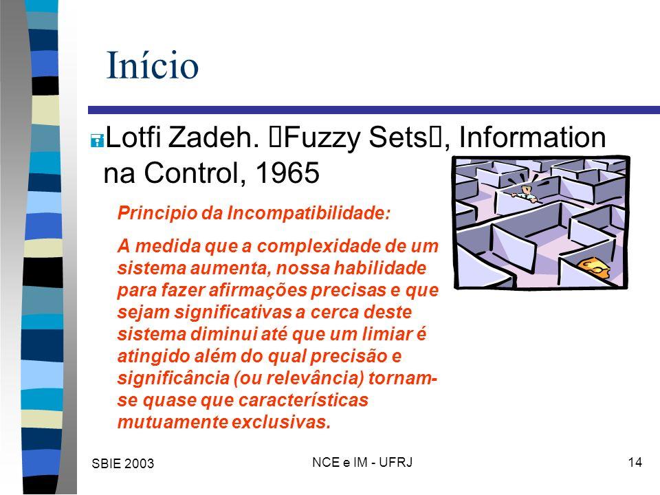 """SBIE 2003 NCE e IM - UFRJ 14 Início Lotfi Zadeh. """"Fuzzy Sets"""", Information na Control, 1965 Principio da Incompatibilidade: A medida que a complexidad"""