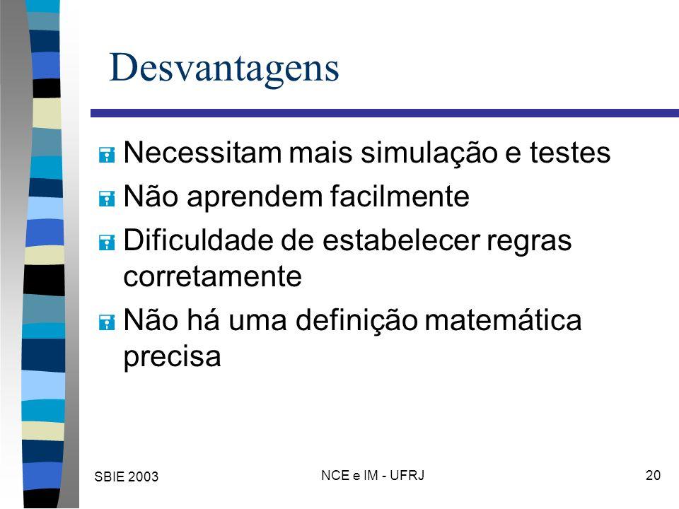 SBIE 2003 NCE e IM - UFRJ 20 Desvantagens = Necessitam mais simulação e testes = Não aprendem facilmente = Dificuldade de estabelecer regras corretamente = Não há uma definição matemática precisa