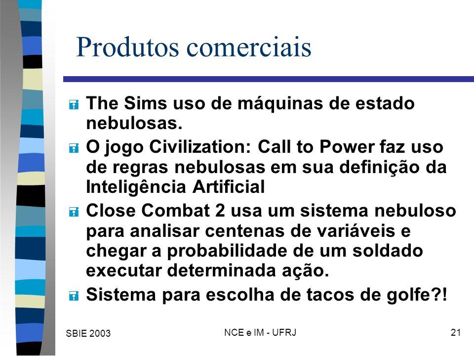 SBIE 2003 NCE e IM - UFRJ 21 Produtos comerciais = The Sims uso de máquinas de estado nebulosas. = O jogo Civilization: Call to Power faz uso de regra