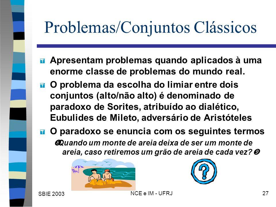 SBIE 2003 NCE e IM - UFRJ 27 Problemas/Conjuntos Clássicos = Apresentam problemas quando aplicados à uma enorme classe de problemas do mundo real. = O