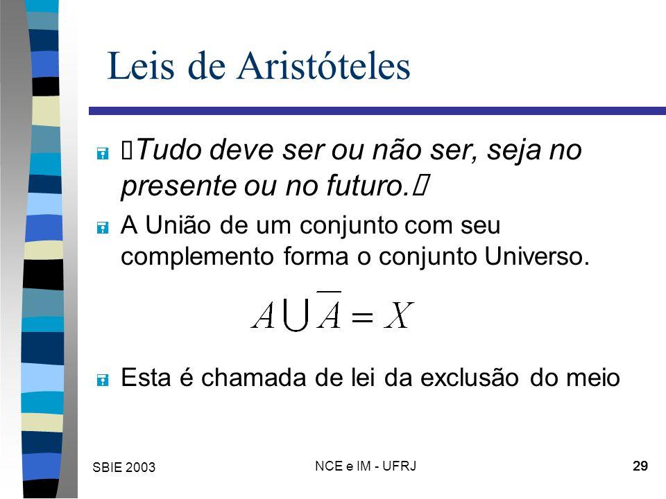 """SBIE 2003 NCE e IM - UFRJ 29 Leis de Aristóteles """" Tudo deve ser ou não ser, seja no presente ou no futuro."""" = A União de um conjunto com seu complemento forma o conjunto Universo."""