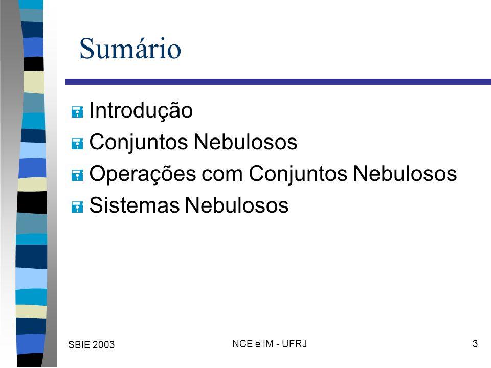 SBIE 2003 NCE e IM - UFRJ 3 Sumário = Introdução = Conjuntos Nebulosos = Operações com Conjuntos Nebulosos = Sistemas Nebulosos
