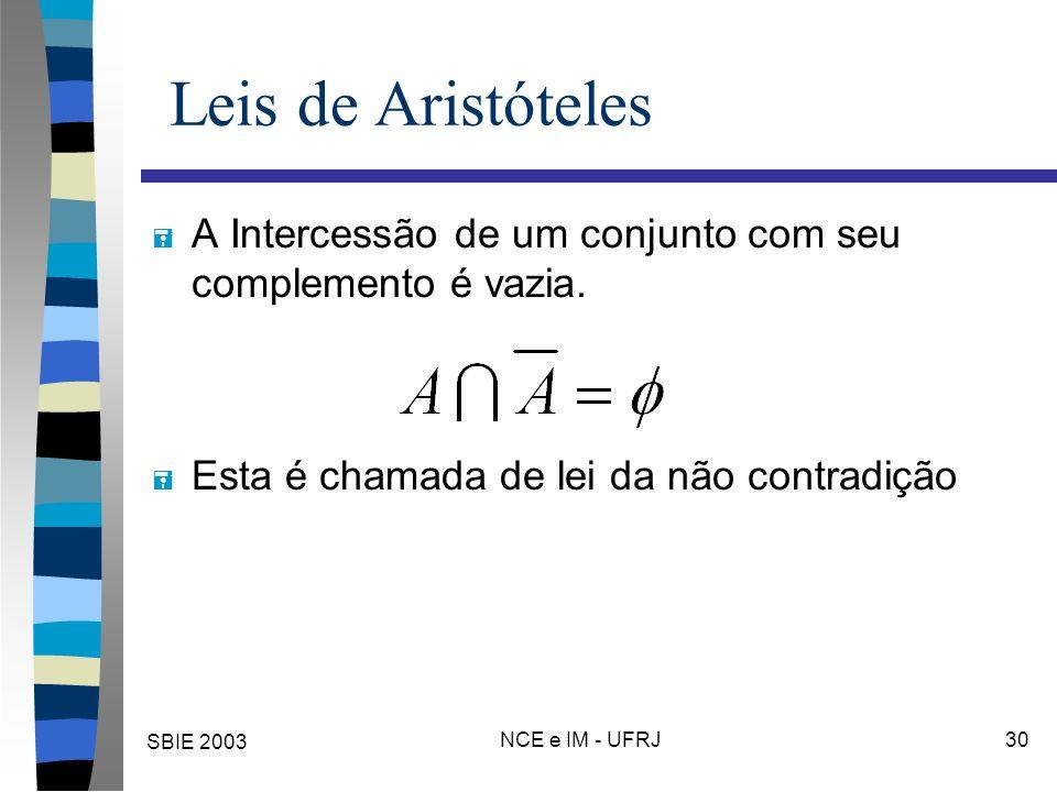 SBIE 2003 NCE e IM - UFRJ 30 Leis de Aristóteles = A Intercessão de um conjunto com seu complemento é vazia. = Esta é chamada de lei da não contradiçã