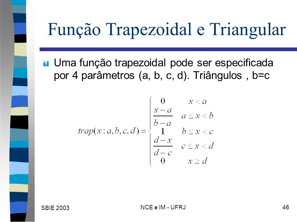 SBIE 2003 NCE e IM - UFRJ 46 Função Trapezoidal e Triangular = Uma função trapezoidal pode ser especificada por 4 parâmetros (a, b, c, d). Triângulos,