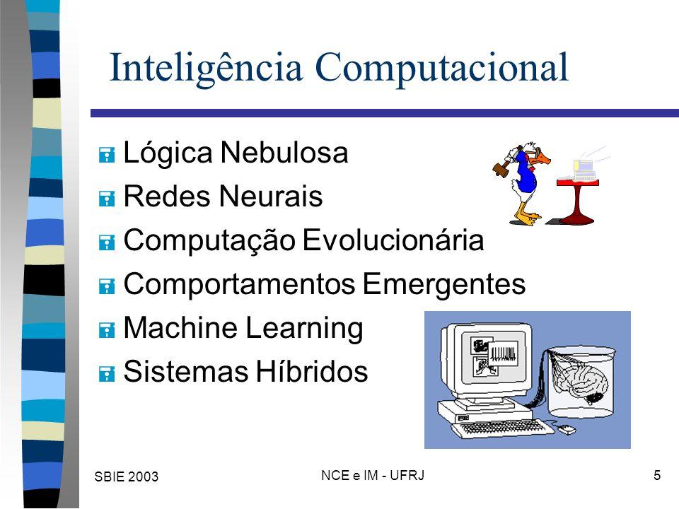 SBIE 2003 NCE e IM - UFRJ 5 Inteligência Computacional = Lógica Nebulosa = Redes Neurais = Computação Evolucionária = Comportamentos Emergentes = Machine Learning = Sistemas Híbridos