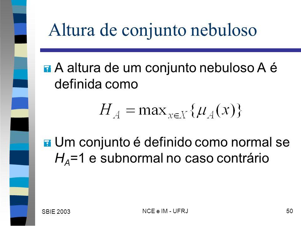 SBIE 2003 NCE e IM - UFRJ 50 Altura de conjunto nebuloso = A altura de um conjunto nebuloso A é definida como = Um conjunto é definido como normal se H A =1 e subnormal no caso contrário