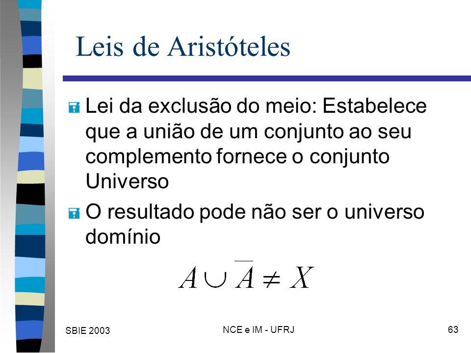 SBIE 2003 NCE e IM - UFRJ 63 Leis de Aristóteles = Lei da exclusão do meio: Estabelece que a união de um conjunto ao seu complemento fornece o conjunto Universo = O resultado pode não ser o universo domínio